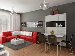 sala en gris y rojo