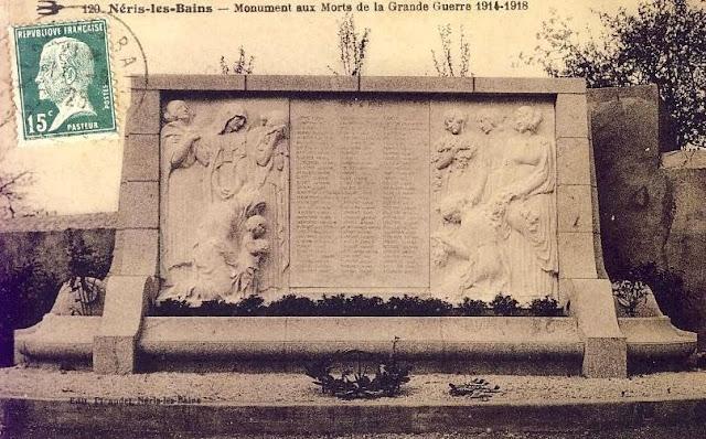 CPA monuments aux Morts de l'Allier, Néris les Bains