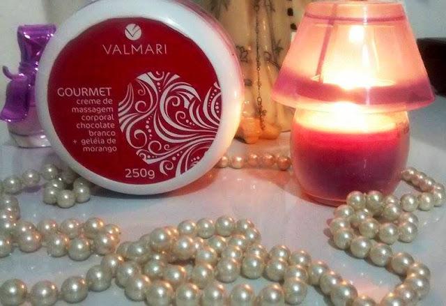 Creme de massagem corporal chocolate branco + geléia de morango da Valmari.
