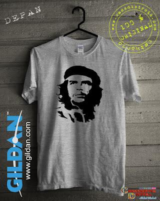 Baju Kaos DISTRO Desain Seluet Guevara Warna Gray