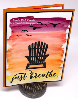 Linda Vich: June Wind Up and Projects. Watercolor pencils are used to create a wash as the backdrop for this Sunset Silhouette, complete with an Adirondack chair die cut with the Seasonal Layers Thinlits.