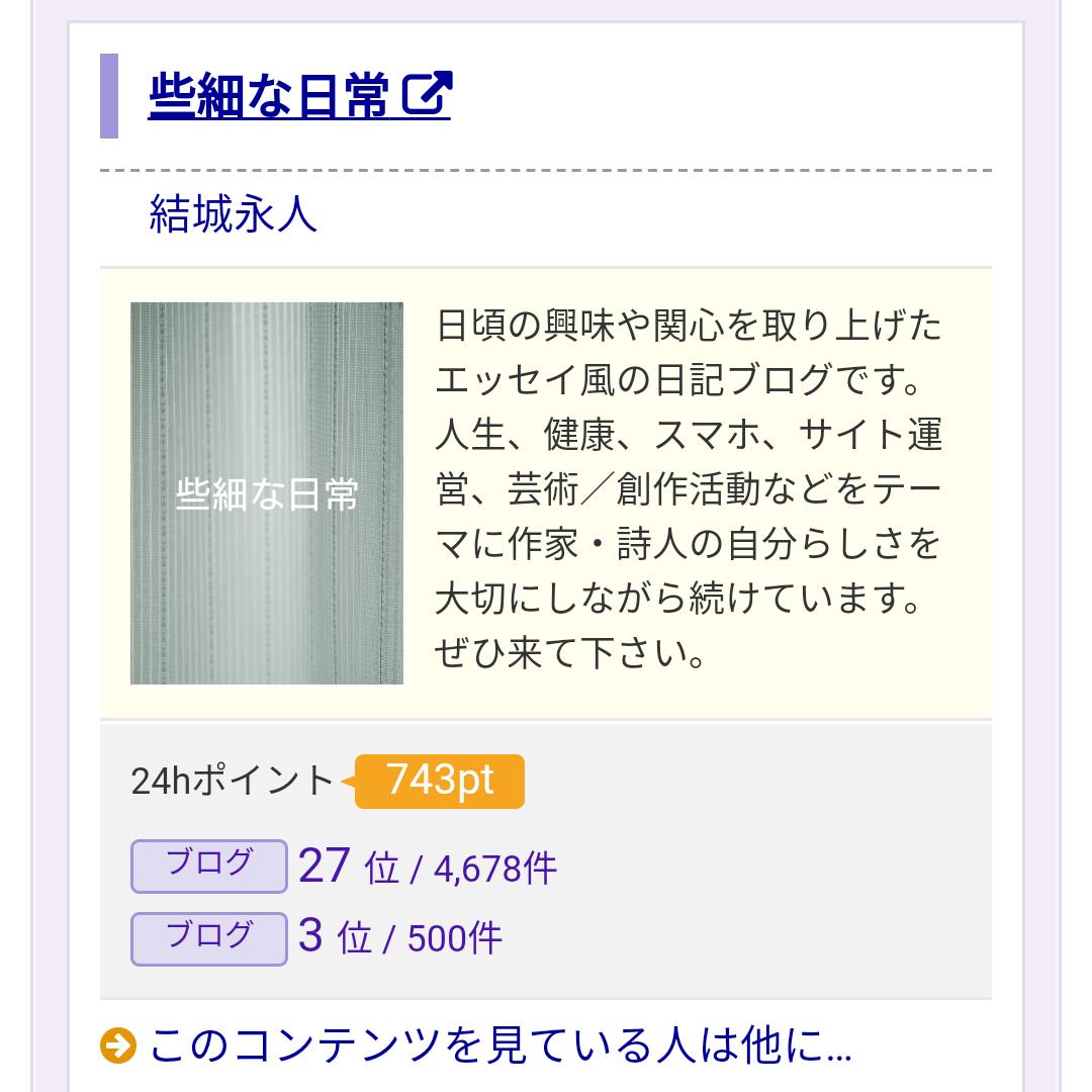 結城永人のWebコンテンツでカウントされた些細な日常の二十四時間で二百四十三人をマークしたブログのアクセス