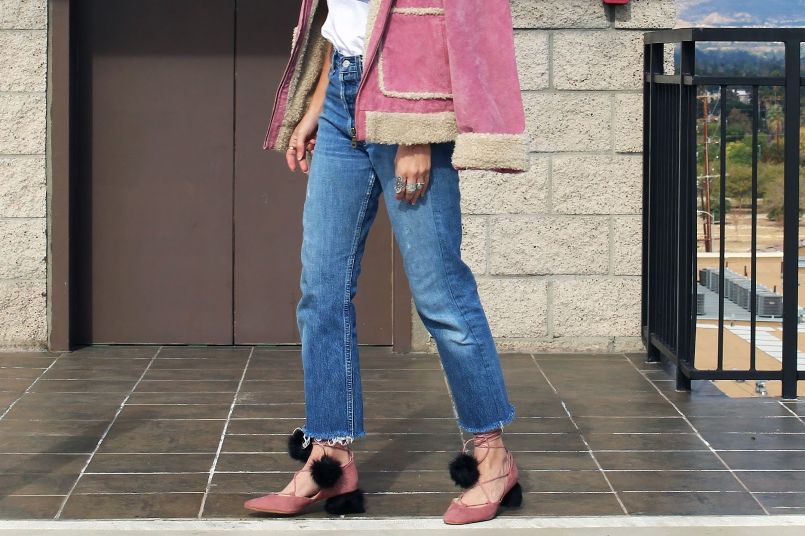 fur shoes, shearling jacket, pink color trend