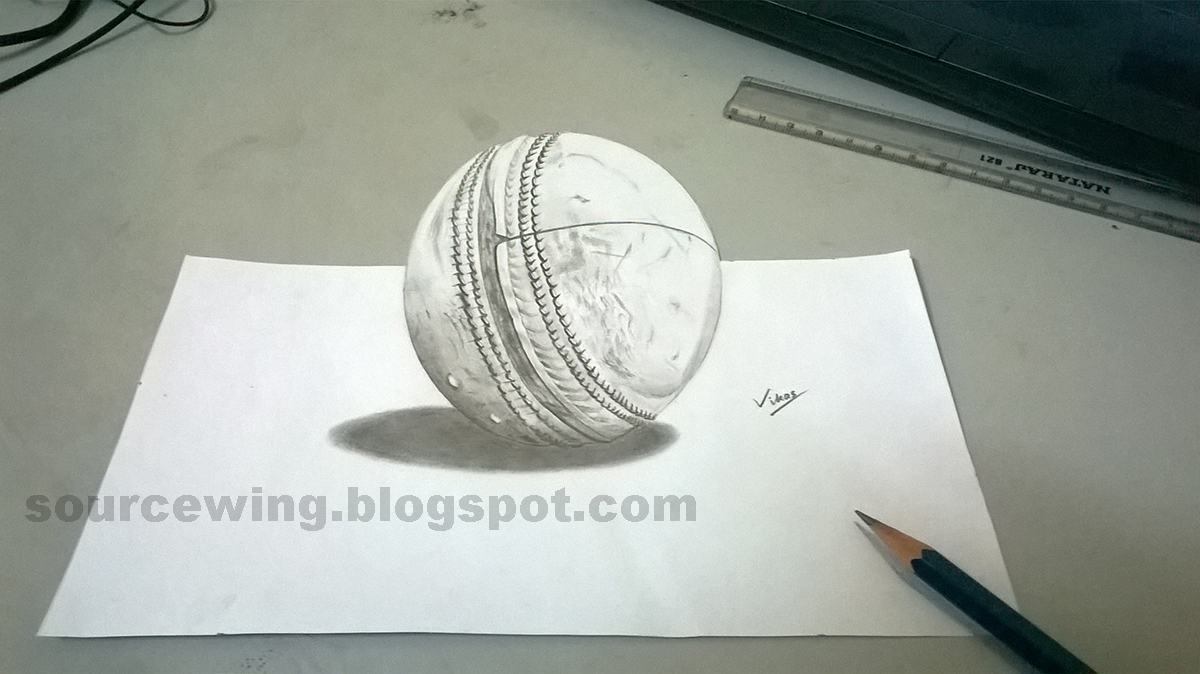 3d pencil drawing of a cricket ball