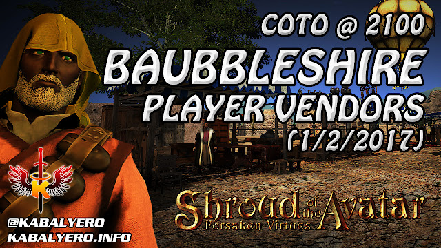 Shroud Of The Avatar Market Watch 💰 COTO @ 2100, Baubbleshire Player Vendors