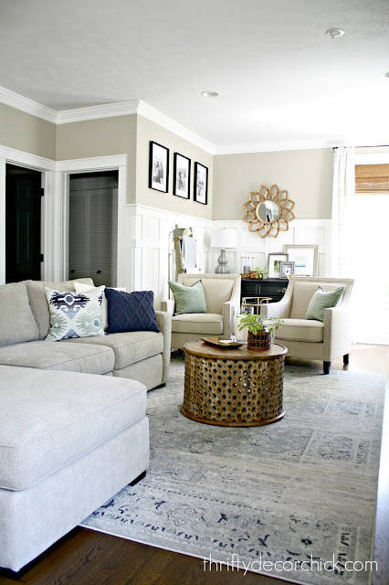 Long family room furniture layout