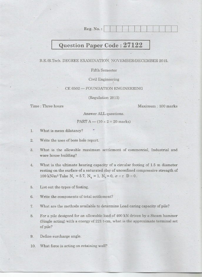 CE6502 Foundation Engineering Nov Dec 2015 Question Paper