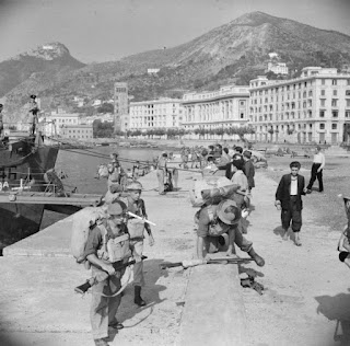 British soldiers on the quayside at Salerno, the day after the invasion of the Italian mainland had begun