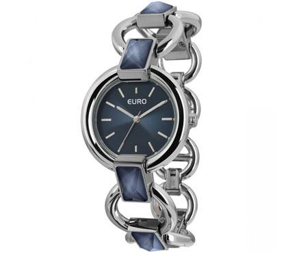 Relógio Euro Cinza e Azul