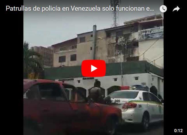 Patrullas de policía en Venezuela solo funcionan empujadas