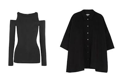 Черный узкий топ и черная широкая рубашка