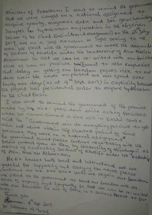 Dr. Solomon N. Yusuf's Letter from captivity