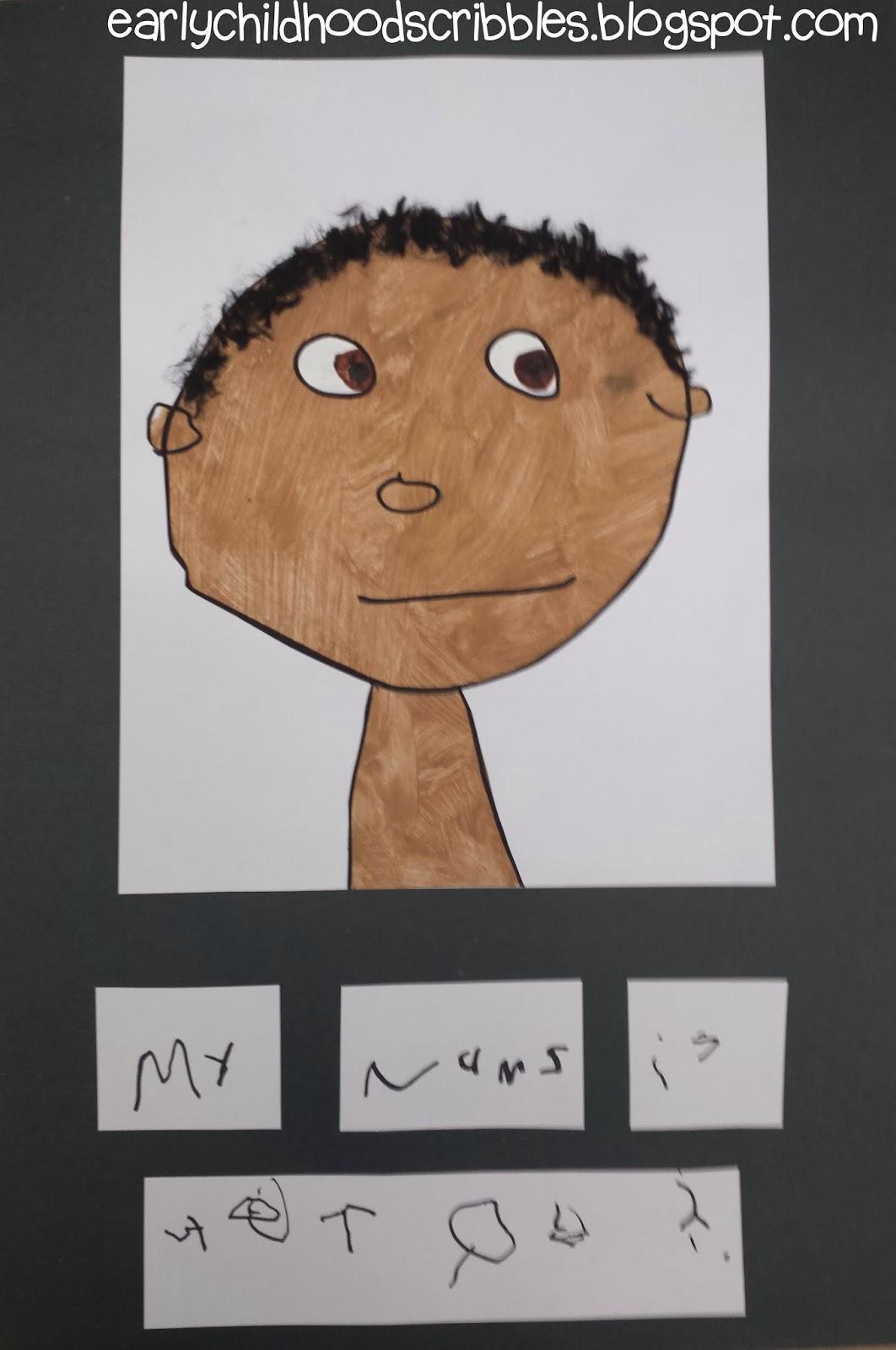 Early Childhood Scribbles Preschool Self Portraits