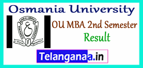 OU Osmania University MBA 2nd Semester Exam Result 2017