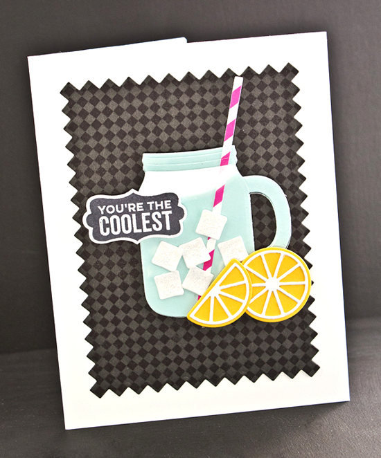 Handmade card from Lisa Johnson featuring Mason Jar Labels stamp set, Fine Check Background stamp, Mason Jar Mug and Pinking Edge Rectangle STAX Die-namics #mftstamps