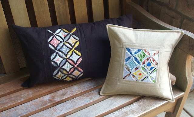 cathedral window linen pillows