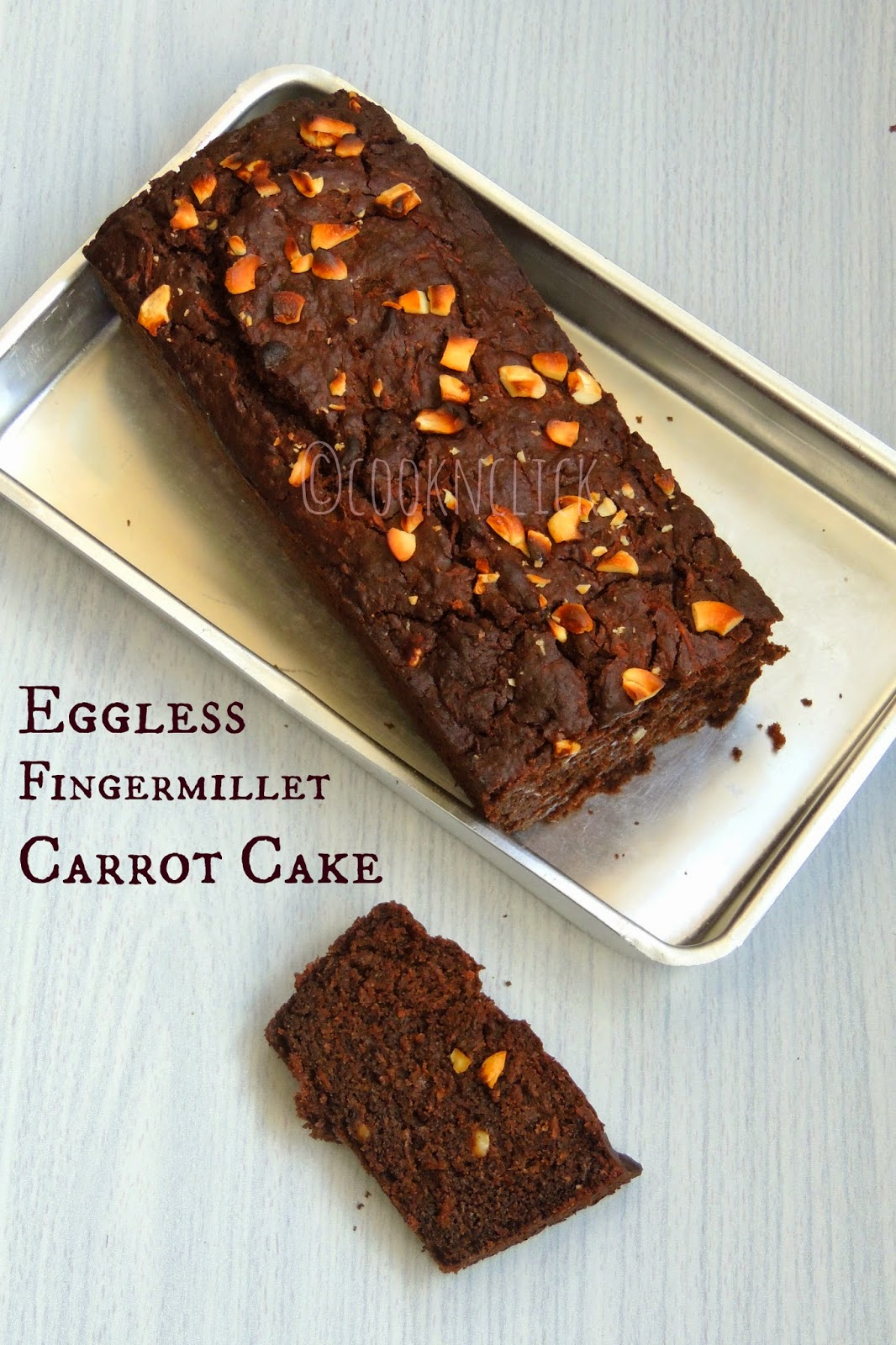 Eggless Ragi Carrot Cashew Cake/Eggless Fingermillet Cake with Palm Jaggery Syrup