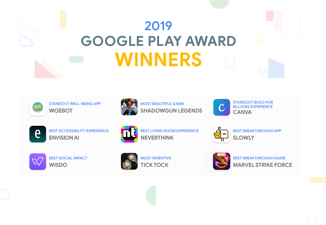 2019 Google Play Award list highlights top Android apps and games of the year