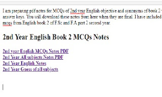 2nd year English MCQs