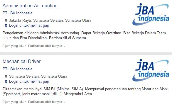 Lowongan Kerja PT JBA Indonesia Terbaru 2019.