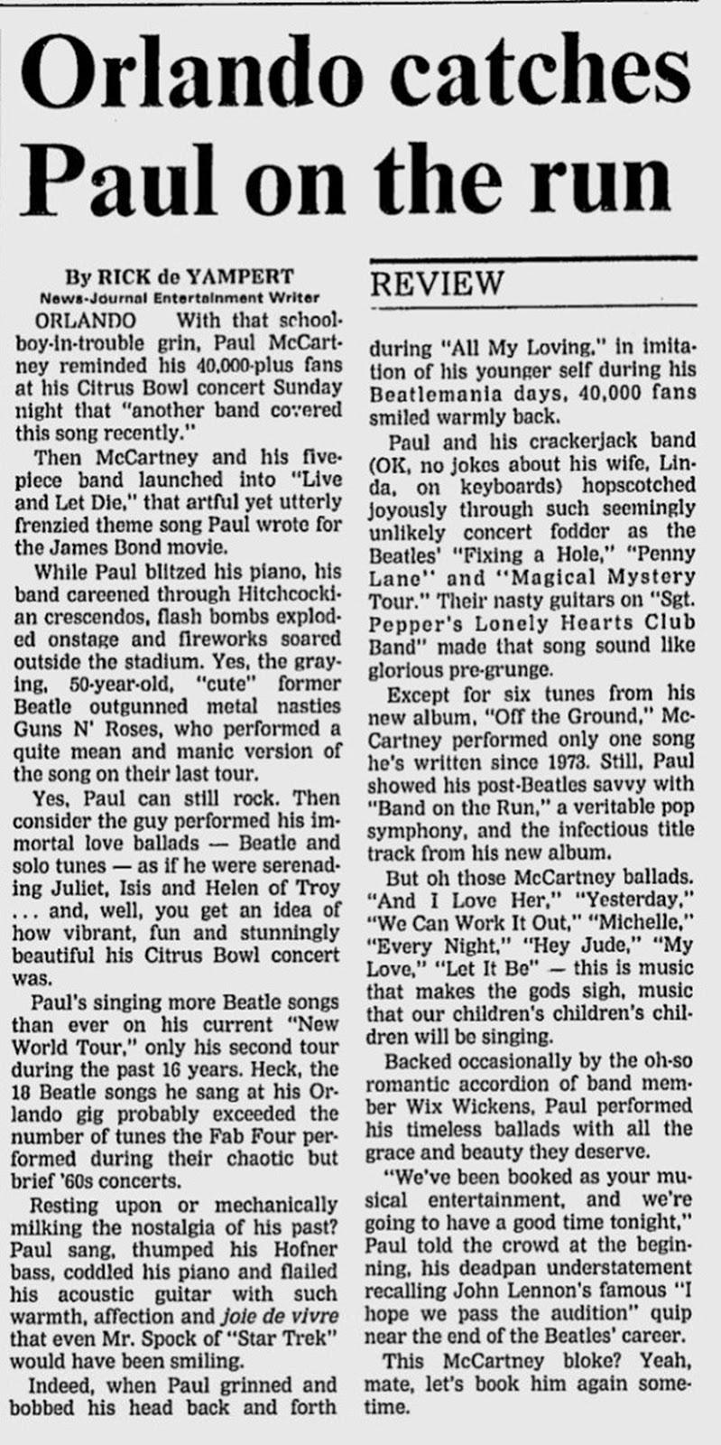 The Beatles In The News: Paul McCartney - The Daytona Beach