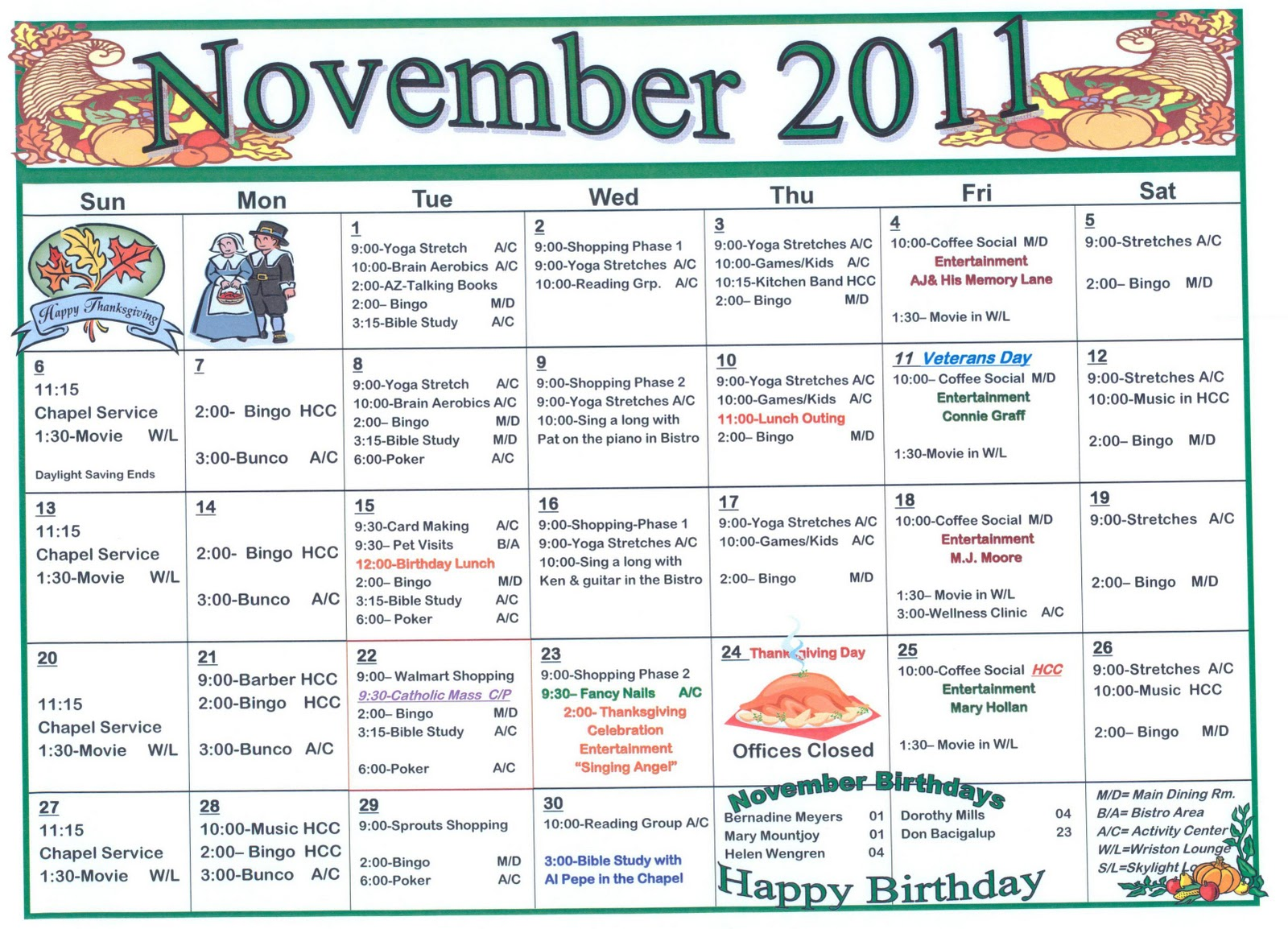 Retirement Amp Life Care Journal November Assisted Living Indpependent Living Activities Calendar