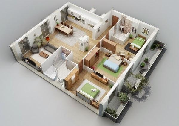 Yuk Menggambar Denah Rumah Sederhana 1 Lantai 3 Kamar Tidur Desain