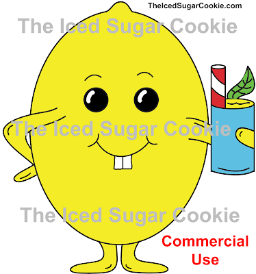 Lemon Holding A Lemonade Mint Drink Illustration Cartoon Clipart Picture Image Commercial Business Use Logo by The Iced Sugar Cookie www.theicedsugarcookie.com