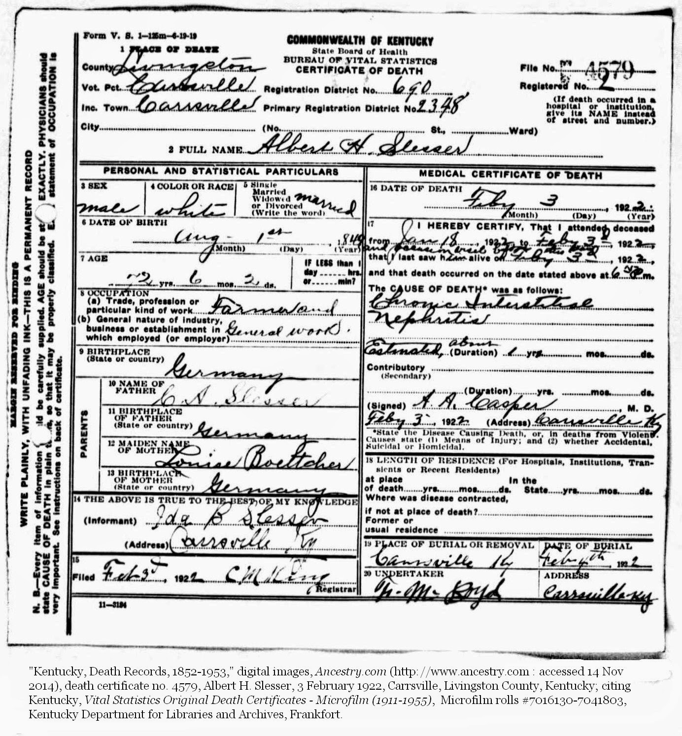My ancestors along the ohio sympathy saturday passing of albert information on the certificate was supplied by ida b slesser his wife and a a casper the attending physician an image of the certificate and aiddatafo Image collections
