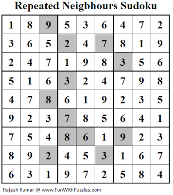 Repeated Neigbhours Sudoku (Fun With Sudoku #146) Solution