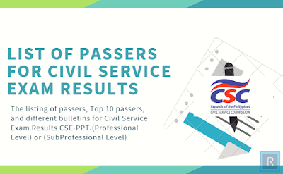 List Of Passers For Civil Service Exam Results CSE-PPT March 2019