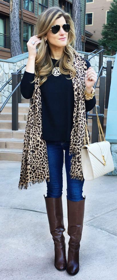how to style an animal printed scarf : jeans + high boots + bag + top