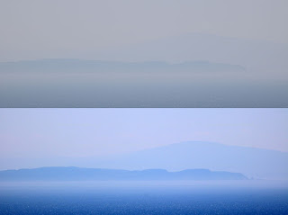Ireland in the distance (before and after photoshop cleaning up)