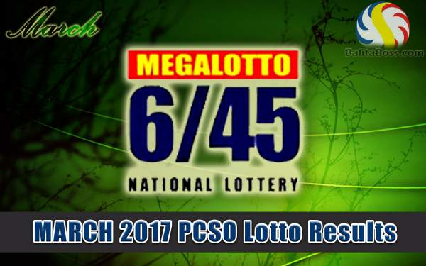 Results: March 2017 MegaLotto 6/45 PCSO Lotto