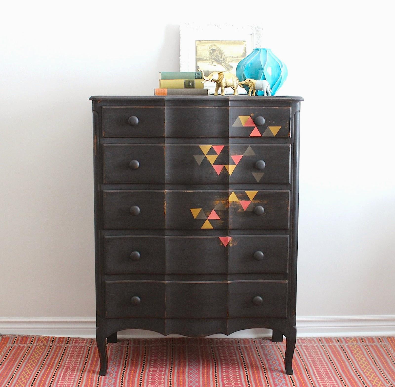 Black Tallboy Dresser With Triangles