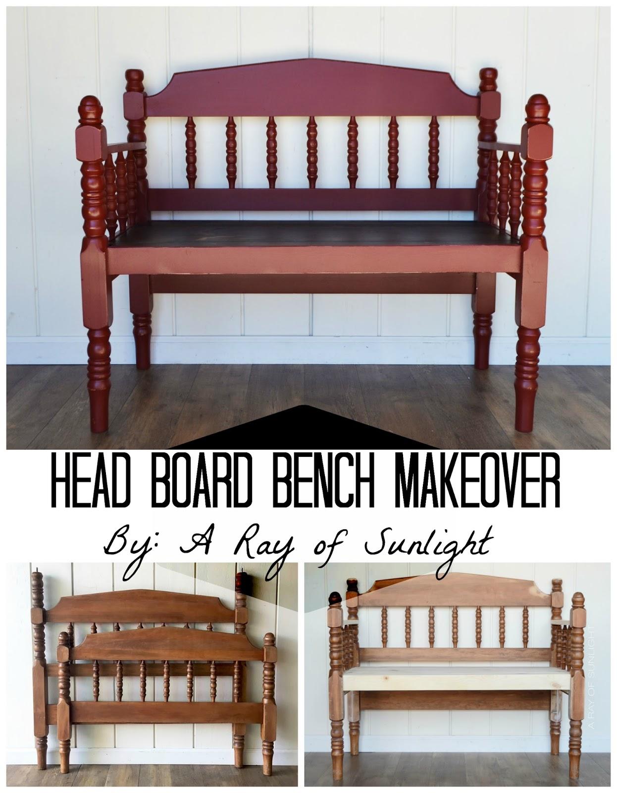 Vintage Headboard bench makeover
