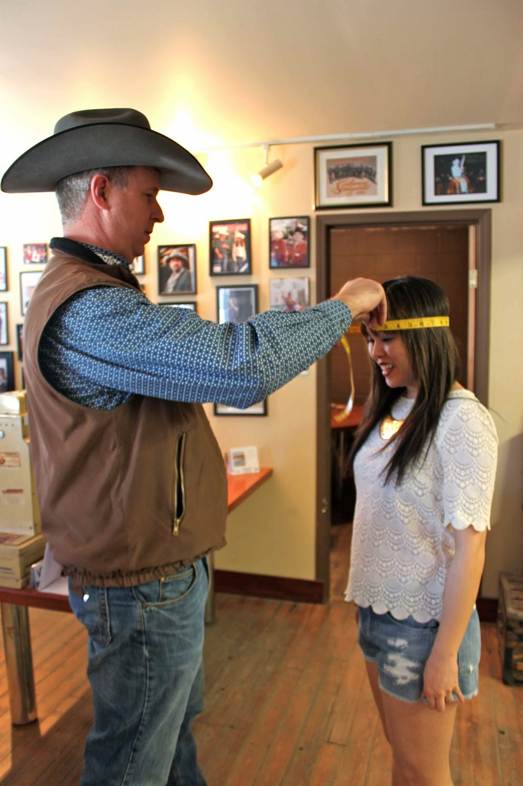 Getting my head measured for a perfectly fit cowboy hat from Smithbilt Hats  in Calgary (above). Going to be in town for Stampede  859c2e7c296