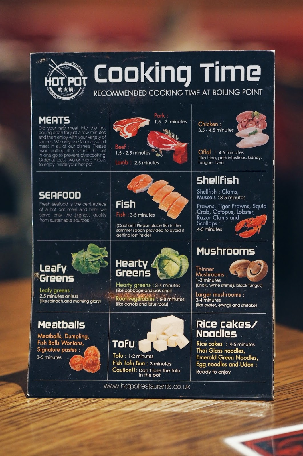 Menu with instructions for hotpot