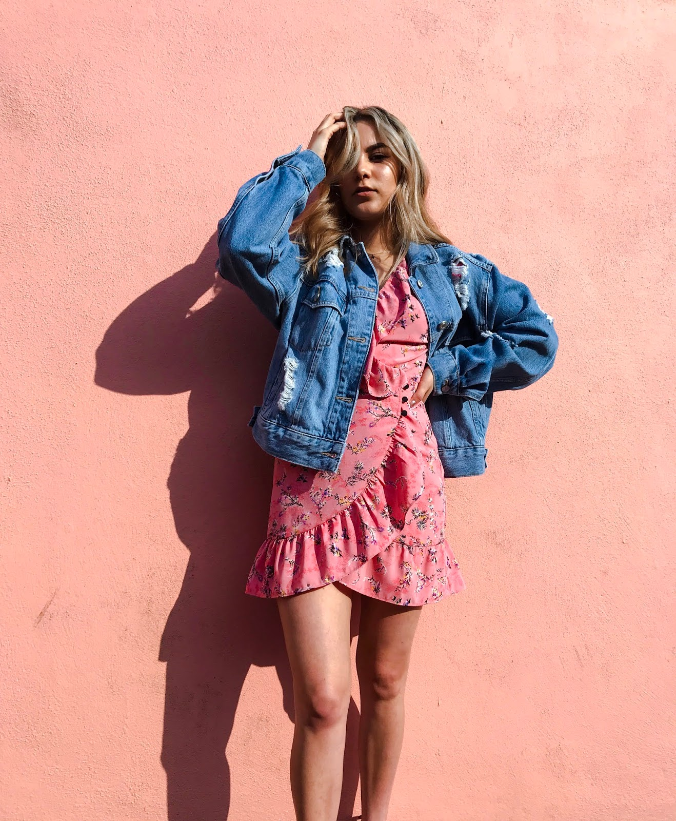 yasmin stefanie topshop pink summer dress denim jacket