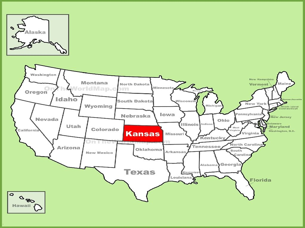where is kansas on the united states map