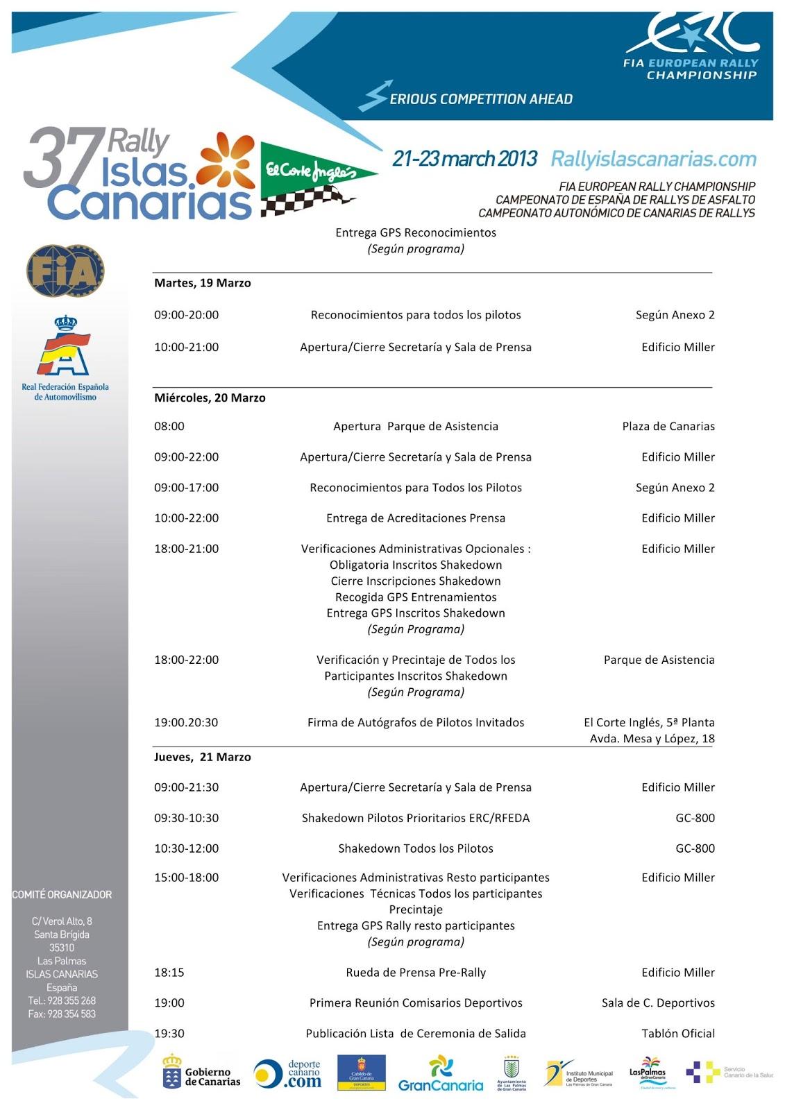 Itinerario horario tramos del rally islas canarias el for Jardin canario horario