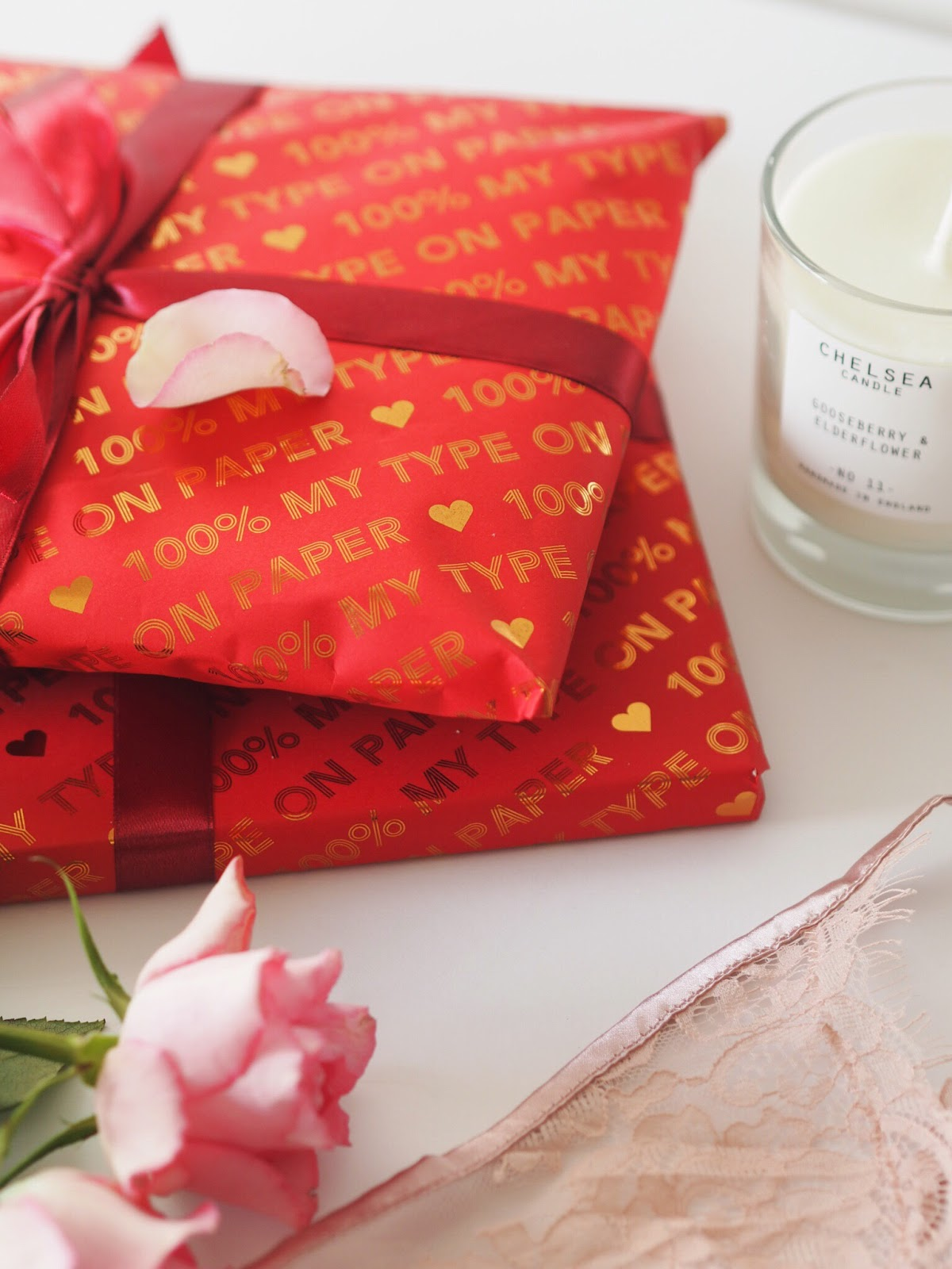 Cosy Valentines Pretty Gifted Personalised Wrapping Paper, Red and Copper, 100% My Type on Paper