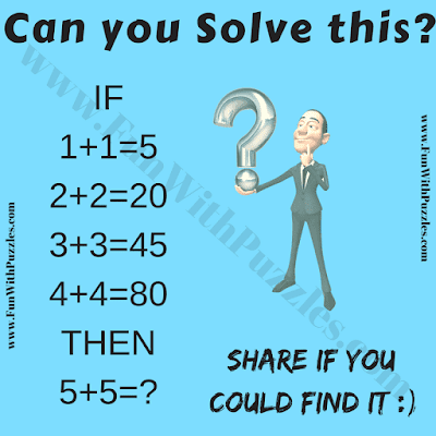 If 1+1=5, 2+2=20, 3+3=45, 4+4=80 Then 5+5=?