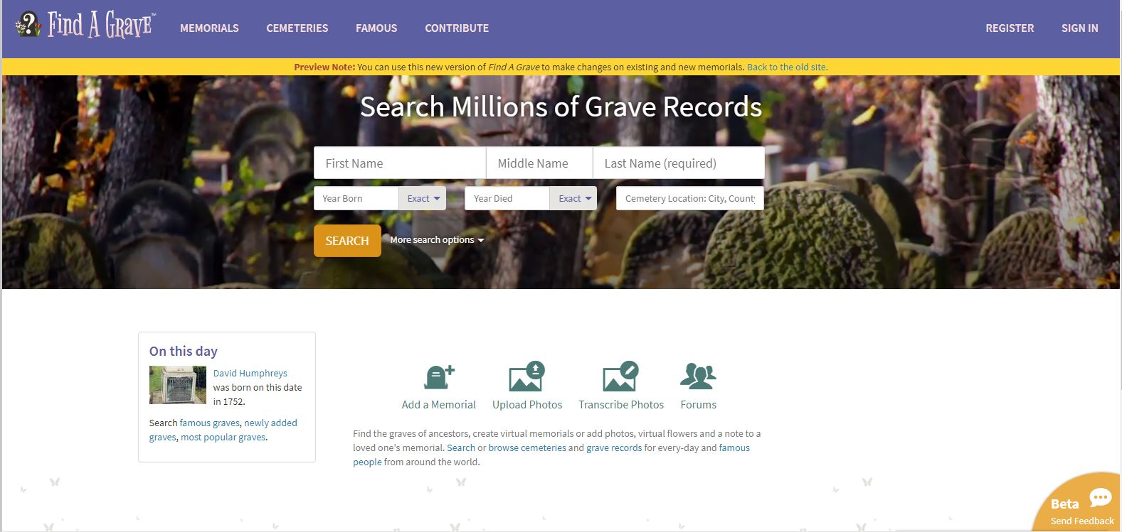 UpFront with NGS: Find A Grave – the same and yet different!