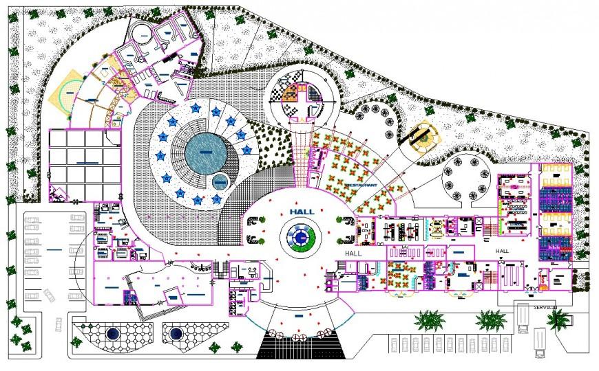 resort top view plan  autocad file