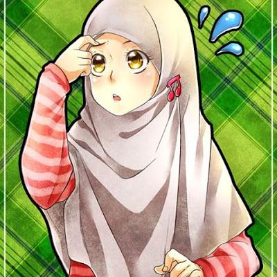 kartun muslimah sedih dan menangis