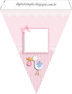 Banderines de Bebé Niña en Rosa para imprimir gratis.