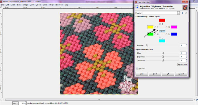 Screenshot showing how to adjust hue in GIMP