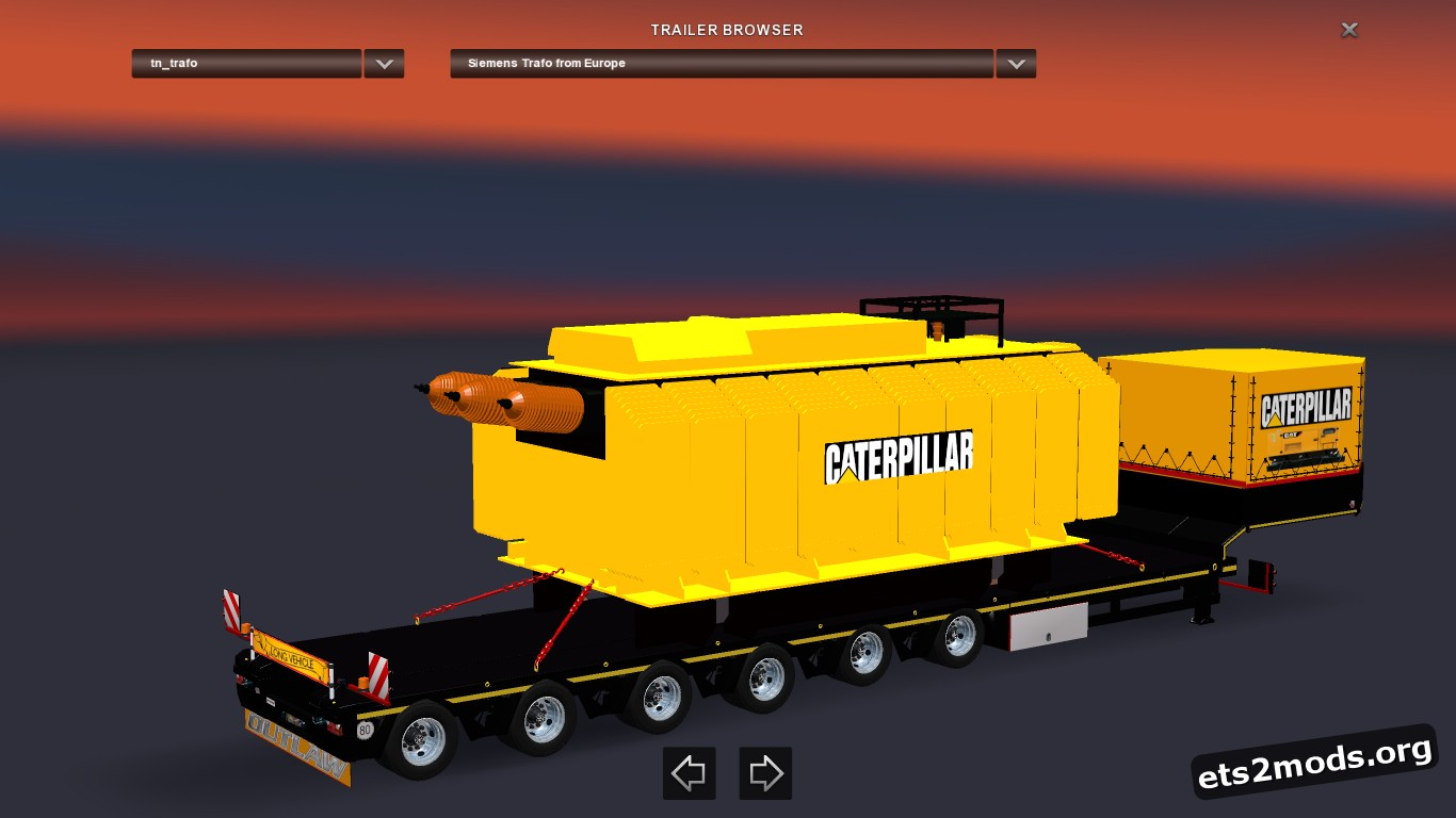 Caterpillar Trailer With Heavy Transformer