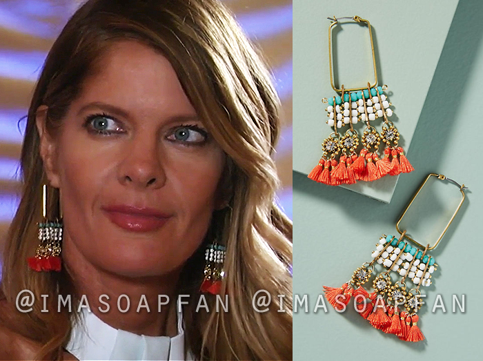 Nina Reeves, Michelle Stafford, Coral and Turquoise Blue Beaded Fringe Hoop Earrings, General Hospital, GH